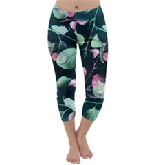 Modern Green And Pink Leaves Capri Winter Leggings  by DanaeStudio