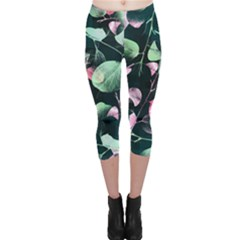 Modern Green And Pink Leaves Capri Leggings  by DanaeStudio