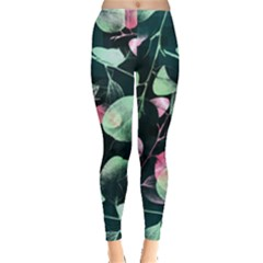 Modern Green And Pink Leaves Leggings