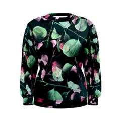 Modern Green And Pink Leaves Women s Sweatshirt