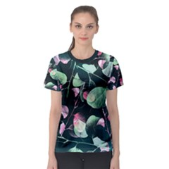 Modern Green And Pink Leaves Women s Sport Mesh Tee