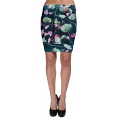 Modern Green And Pink Leaves Bodycon Skirt