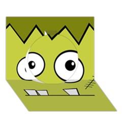 Halloween Frankenstein  Yellow Circle 3d Greeting Card (7x5)