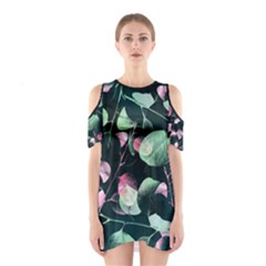 Modern Green And Pink Leaves Women s Cutout Shoulder One Piece
