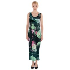 Modern Green And Pink Leaves Fitted Maxi Dress