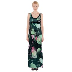 Modern Green And Pink Leaves Maxi Thigh Split Dress