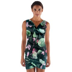 Modern Green And Pink Leaves Wrap Front Bodycon Dress