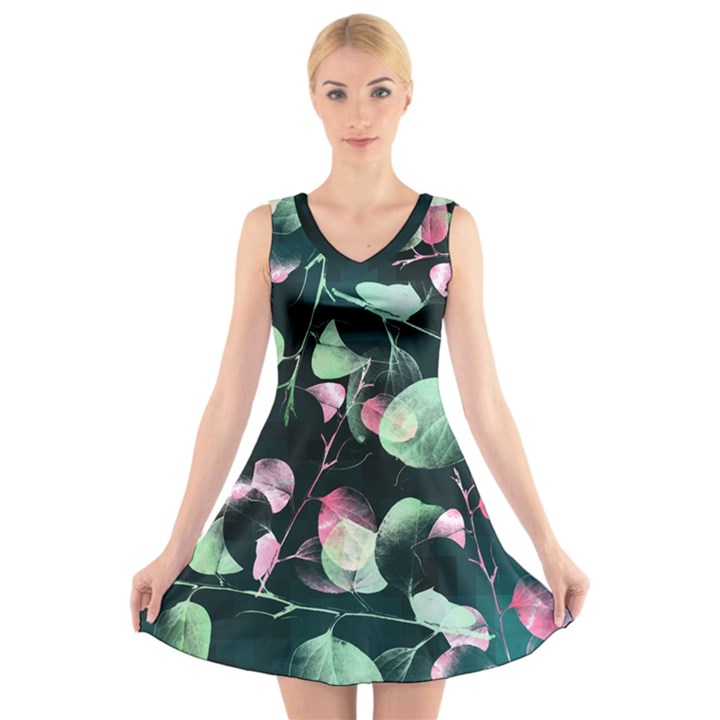 Modern Green and Pink Leaves V-Neck Sleeveless Dress