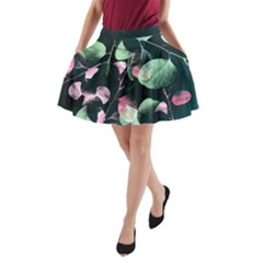 Modern Green And Pink Leaves A Line Pocket Skirt