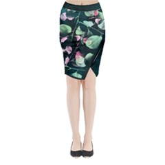 Modern Green And Pink Leaves Midi Wrap Pencil Skirt