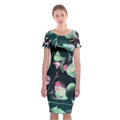 Modern Green And Pink Leaves Classic Short Sleeve Midi Dress by DanaeStudio