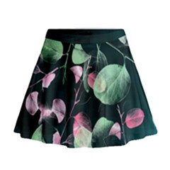 Modern Green And Pink Leaves Mini Flare Skirt