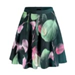 Modern Green and Pink Leaves High Waist Skirt
