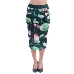 Modern Green And Pink Leaves Midi Pencil Skirt by DanaeStudio