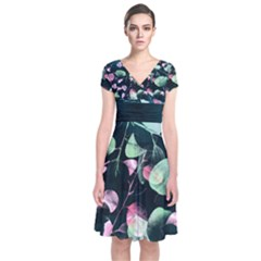 Modern Green And Pink Leaves Short Sleeve Front Wrap Dress by DanaeStudio