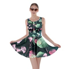 Modern Green And Pink Leaves Skater Dress by DanaeStudio