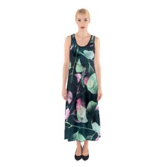Modern Green And Pink Leaves Sleeveless Maxi Dress