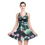 Modern Green and Pink Leaves Reversible Skater Dress