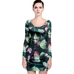 Modern Green And Pink Leaves Long Sleeve Bodycon Dress