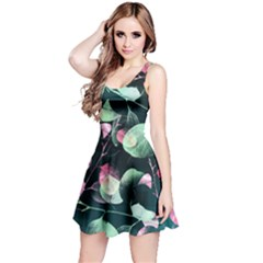 Modern Green And Pink Leaves Reversible Sleeveless Dress by DanaeStudio