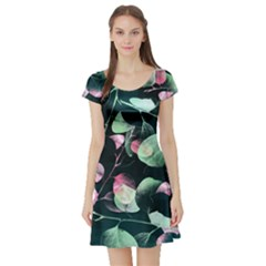 Modern Green And Pink Leaves Short Sleeve Skater Dress