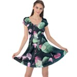 Modern Green and Pink Leaves Cap Sleeve Dress