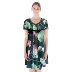 Modern Green And Pink Leaves Short Sleeve V Neck Flare Dress