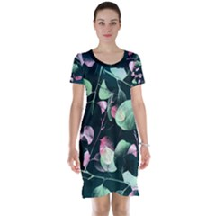 Modern Green And Pink Leaves Short Sleeve Nightdress by DanaeStudio