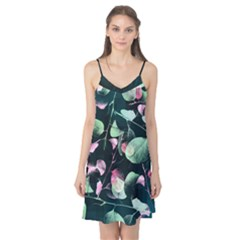 Modern Green And Pink Leaves Camis Nightgown