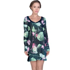 Modern Green And Pink Leaves Long Sleeve Nightdress by DanaeStudio