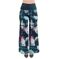 Modern Green And Pink Leaves Women s Chic Palazzo Pants  by DanaeStudio