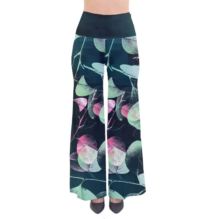 Modern Green and Pink Leaves Women s Chic Palazzo Pants