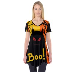 Halloween Monster Short Sleeve Tunic  by Valentinaart