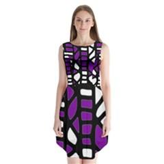 Purple Decor Sleeveless Chiffon Dress