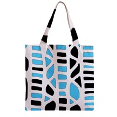 Light Blue Decor Zipper Grocery Tote Bag by Valentinaart