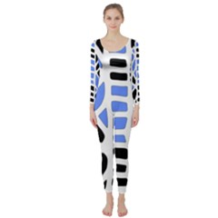 Blue Decor Long Sleeve Catsuit by Valentinaart