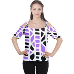 Purple Abstract Decor Women s Cutout Shoulder Tee by Valentinaart