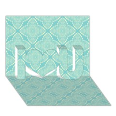 Light Blue Lattice Pattern I Love You 3d Greeting Card (7x5) by TanyaDraws