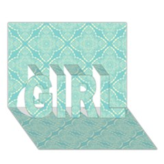 Light Blue Lattice Pattern Girl 3d Greeting Card (7x5) by TanyaDraws