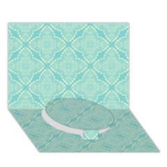 Light Blue Lattice Pattern Circle Bottom 3d Greeting Card (7x5) by TanyaDraws