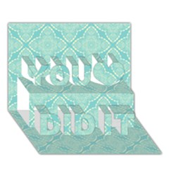 Light Blue Lattice Pattern You Did It 3d Greeting Card (7x5) by TanyaDraws