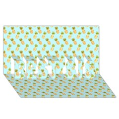 Tropical Watercolour Pineapple Pattern Best Sis 3d Greeting Card (8x4) by TanyaDraws