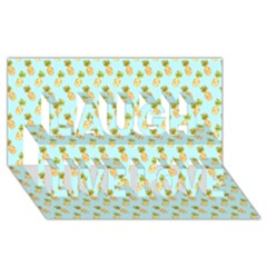 Tropical Watercolour Pineapple Pattern Laugh Live Love 3d Greeting Card (8x4) by TanyaDraws