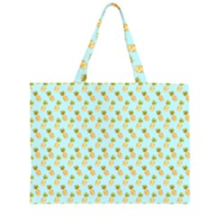 Tropical Watercolour Pineapple Pattern Zipper Large Tote Bag by TanyaDraws