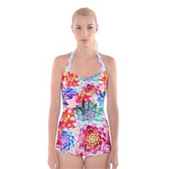 Colorful Succulents Boyleg Halter Swimsuit
