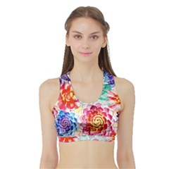 Colorful Succulents Sports Bra With Border