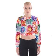 Colorful Succulents Women s Cropped Sweatshirt