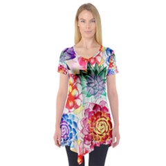Colorful Succulents Short Sleeve Tunic  by DanaeStudio