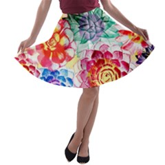 Colorful Succulents A Line Skater Skirt
