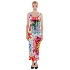 Colorful Succulents Fitted Maxi Dress